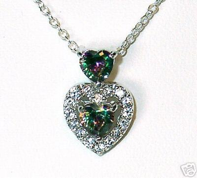 Primary image for Heart-Shaped CZ & Silver Pendant & Earring Set