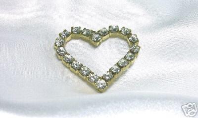 Sparkly Vintage Prong-Set Rhinestone Heart Pendant