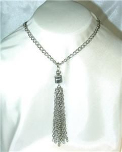 Primary image for Very Cool Silvertone Dangling Tassel Necklace
