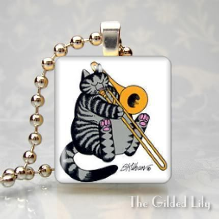 KLIBAN CAT - MUSICIAN - Scrabble Tile Art Pendant Charm