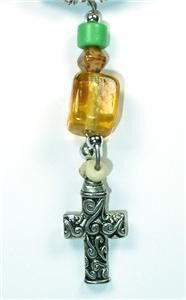 Primary image for Green Glass, Yellow Quartz & Silvertone Cross Pendant