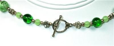 Green Glass, Yellow Quartz & Silvertone Cross Pendant