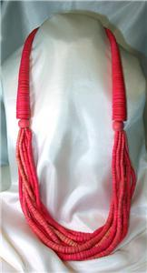 HOT Pink Heishi Beads Multi-Strand Necklace