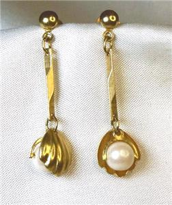 Dainty Clamshell & Simulated Pearl Dangle Earrings