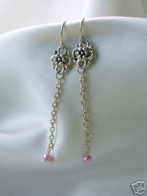 Pink Faux Pearl Dangle Vintage Look Earrings