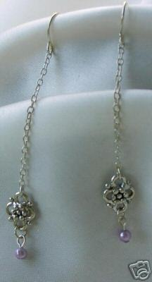 Primary image for Lavender Faux Pearl Vintage-Look Dangle Earrings
