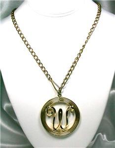Large 'W' Medallion Pendant Necklace