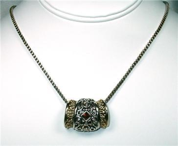 Primary image for Unusual Amber Rhinestone & Filagree Slider Necklace