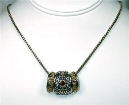 Unusual Amber Rhinestone & Filagree Slider Necklace - $13.00