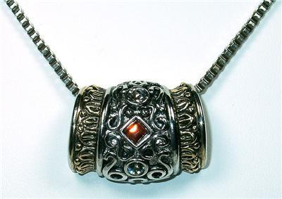 Unusual Amber Rhinestone & Filagree Slider Necklace