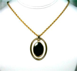 Goldtone & Suspended Black Glass Cabochon Pendant