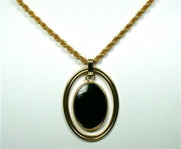 Goldtone & Suspended Black Glass Cabochon Pendant