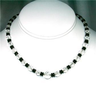 Splendid Antique Faceted Crystal & Black Glass Choker