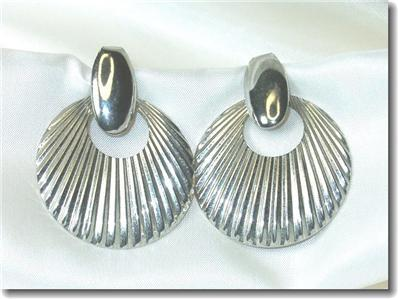 Silvertone Shell Motif Dangling Pierced Post Earrings
