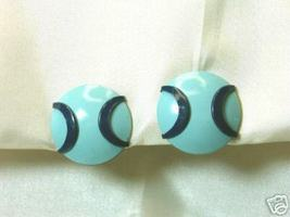 Vintage 1950s Japanese Blue Enamel Baseball Earrings - $10.00
