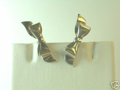 Dainty Vintage Sterling Silver Holiday Bow Earrings