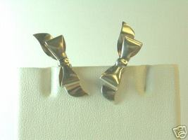 Dainty Vintage Sterling Silver Holiday Bow Earrings - $16.00
