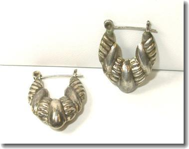Sterling Repousse Puffy Pointed Hoop Pierced Earrings