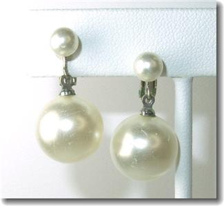 Vintage Richlieu Faux Pearl Clipback Dangle Earrings