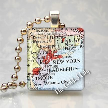 NEW YORK AREA MAP NY - Scrabble Tile Art Pendant Charm