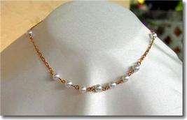 Vintage Faux Pearl & Detailed Goldtone Chain Choker - $15.00