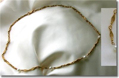 Vintage Goldtone Faux Pearl Textured Link Necklace