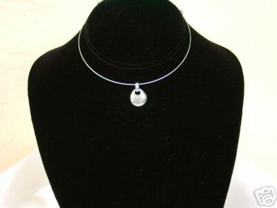 Memory Wire and Bright Silvertone Drop Choker