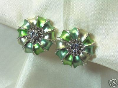 Vintage Frosted Enamel & Rhinestone Clip Earrings