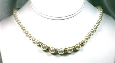 White Faux Pearl & Fancy Rhinestone Rondelle Necklace