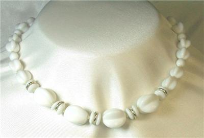 German Vintage Hand-Knotted White Pressed Glass Choker