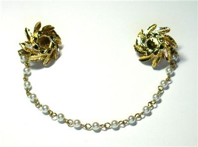 Primary image for Vintage Faux Pearl & Flower Sweater Guard/Clips