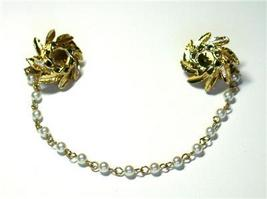 Vintage Faux Pearl & Flower Sweater Guard/Clips - $11.00