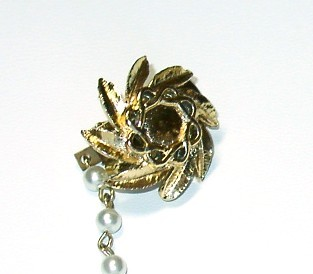 Vintage Faux Pearl & Flower Sweater Guard/Clips
