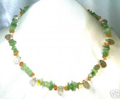 Gorgeous Citrine & Green Stone, Quartz Briolette Choker