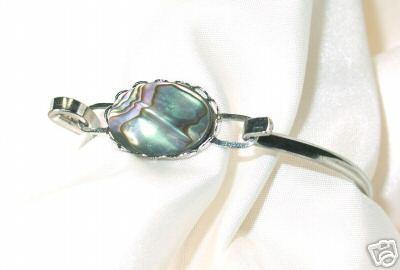 Vintage Oval Abalone and Silvertone Bracelet