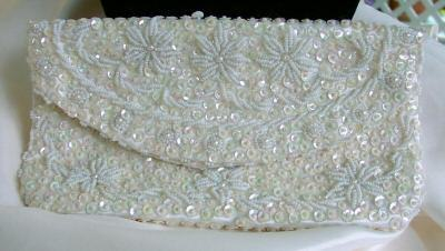 Handmade Sparkly Vintage Sequined & Beaded White Clutch