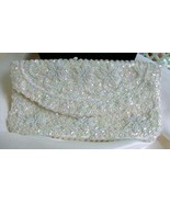Handmade Sparkly Vintage Sequined & Beaded White Clutch - $25.00
