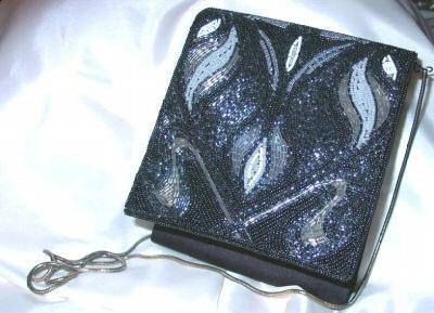 Gorgeous Vintage 1980s Disco Beaded Black Handbag