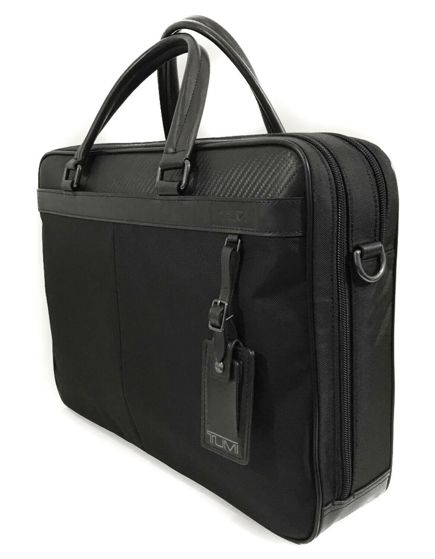NWT TUMI Men's Berwick Double Zip Nylon Briefcase, Black