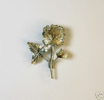 Primary image for Delicate Detailed Vintage Mexican Silver Rose Pin