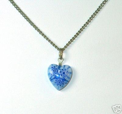 Charming Cobalt Blue Millefiore Glass Heart Pendant
