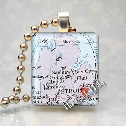 MICHIGAN DETROIT AREA  MAP Scrabble Tile Pendant Charm