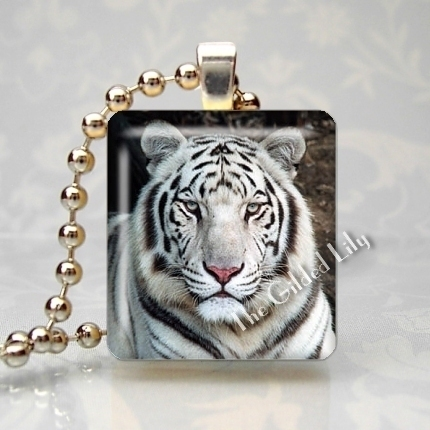 WHITE TIGER WILD ANIMAL Scrabble Tile Art Pendant Charm