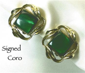 Signed CORO Goldtone Green Lucite Clip Earrings