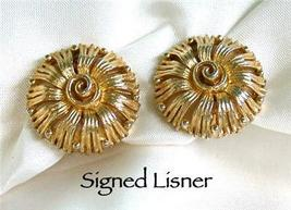 Signed Lisner Goldtone Flower Clip Earrings - $18.00
