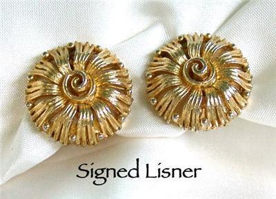 Signed Lisner Goldtone Flower Clip Earrings