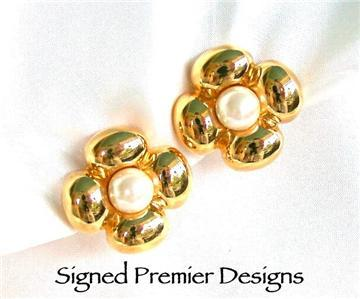 Signed Premier Designs Faux Pearl Flower SB Earrings