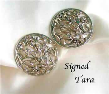 Signed TARA Goldtone Filagree Clip Earrings
