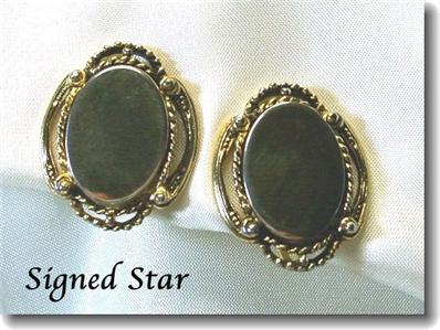 Goldtone STAR Brand Engraveable SB Earrings