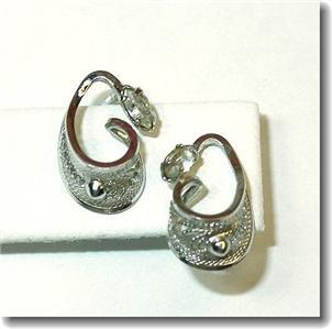 Silvertone Filagree Navette Rhinestone Stud Earrings